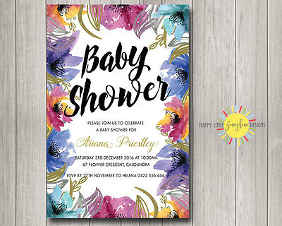 Custom Baby Shower Invitation Neutral Floral Purples, Pinks, Blues and - Purple And Gold Baby Shower Invitations