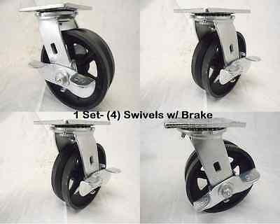 6 X 2 Swivel Caster 78 V-groove With Brake Iron Steel Wheel 4 1000 Lbs Ea