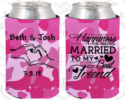 Personalized Wedding Coozies Custom Coozie (511) Romantic, Wedding Party (Wedding Coozies)