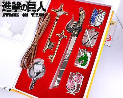 Hot Anime Attack On Titan 4 Badges   1 Mini Sword   2 Keys Pendant Keychain Toy