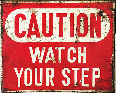 Caution Watch Your Step - VINTAGE ADVERTISING ENAMEL METAL TIN SIGN WALL PLAQUE