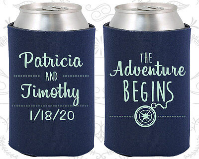 Personalized Wedding Koozies Custom Koozie Gifts (289) The Adventure Begins - Personalized Koozie