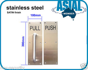 stainless STEEL door handle Pull Push PLATE SATIN finish commercial toilet door