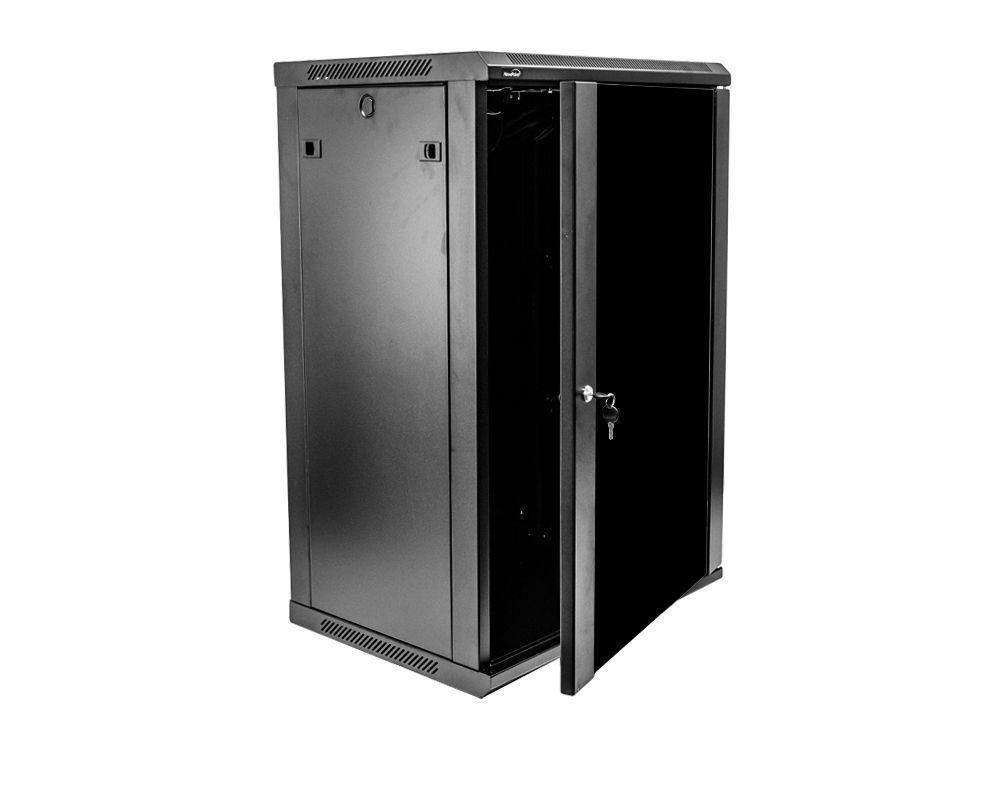 light gray color 24U 400mm deep wall mount cabinet rack Glass door W//lock Beige