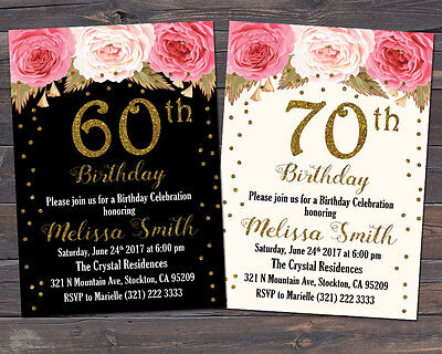 60th, 70th, 80th, 90th Invitation, Floral Birthday Invitation / Any Age - 60th Birthday Invites