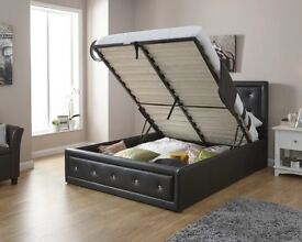 BRAND NEW DIAMOND TUFTED DOUBLE KINGSIZE LEATHER OTTOMAN STORAGE BED FRAME IN WHITE BLACK COLOUR