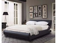 💥💥*****BRAND NEW*Modern Designer Low Frame 4ft6 Double Black Faux Leather Bed *****💥💥