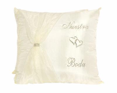 Ivory Satin Wedding Kneeling Pillow Set - Nuestra Boda Kneeling Pillows (2 pcs)