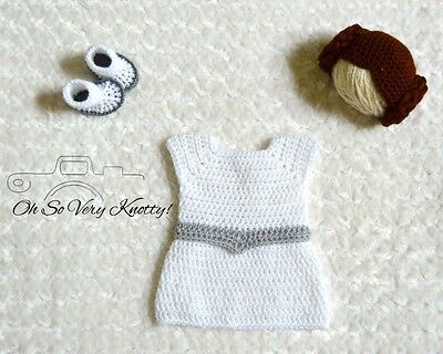 ia Inspired Baby Costume/ Crochet Princess Leia Photo Prop (Leia Baby-kostüm)