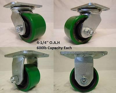 3-14 X 2 Swivel Low Profile Polyurethane Caster 2 Rigid 2 600lb Ea