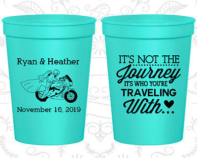 Personalized Plastic Wedding Cups Custom Cup (455) Motorcycle Wedding Favors - Custom Plastic Cups