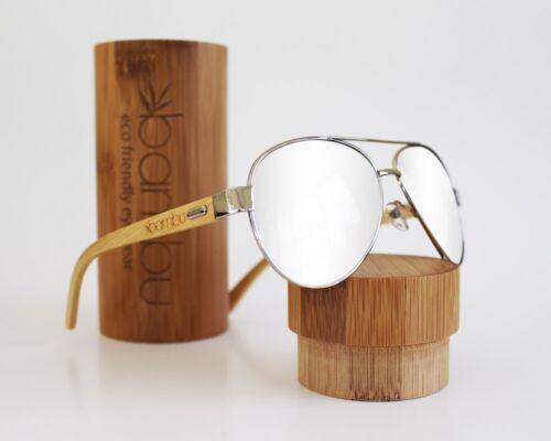 Handmade Aviator Bamboo Wood Polarized Sunglasses Mirrored W
