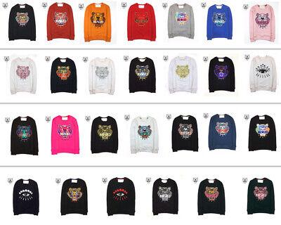 KENZO PARIS MEN'S WOMEN'S Tiger Head Embroidery Jumper Crew Neck Sweatshirt