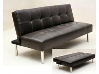 Italian 3 Seater PU Leather Sofa Bed Settee in Black or Brown color