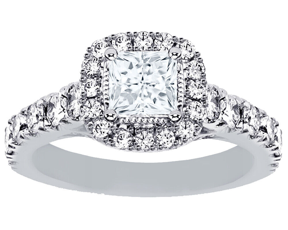 GIA Certified Diamond 3 Stone Engagement Ring 2.30 CT Princess & Round Platinum