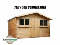 13FT x 10FT SUMMER HOUSE WITH 1FT OVERHANG/GARDEN SHED! TOP QUALITY TIMBER