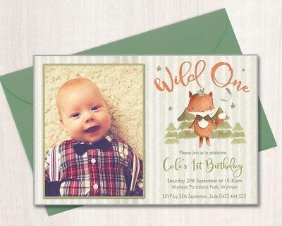 Printable Boys Birthday Photo Invitation Wild One Any Age Fox Woodland Animals - One Photo Invitation