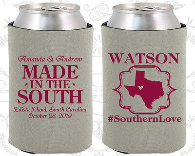 Wedding Koozies Custom Koozie Gifts (599) Made in the South, Country Favors