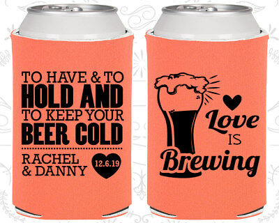 Personalized Wedding Coozies Custom Coozie (431) Love is Brewing (Wedding Coozies)