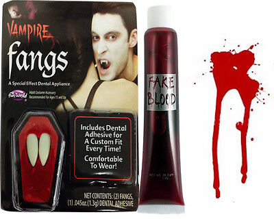 n fangs fake blood dracula devil teeth adult party fun    (Halloween-kostüme Fake Blood)