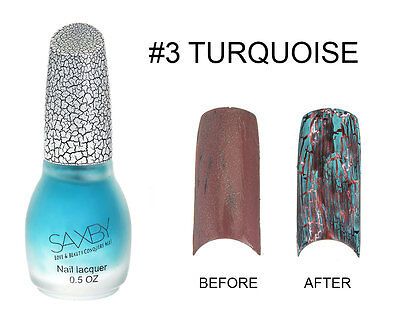 Turquoise Crack Nail Crackle Shatter Pattern Polish Fashion Color