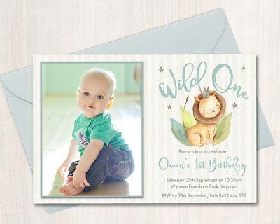 Printable Boys Birthday Photo Invitation Any Age Wild One Lion - One Photo Invitation