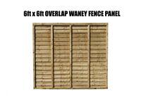 OVERLAP WANEY FENCE PANEL 6FT X 6FT !