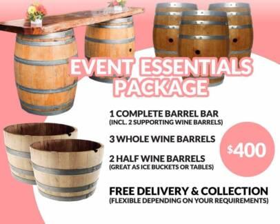 Wine Barrel Bars, Barrel Packages, Bar Stool Hire & More