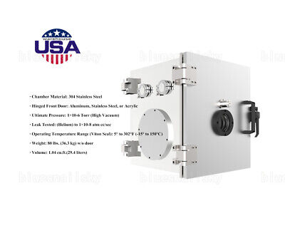 Us Vacuum Chamber Stainless Steel 12 In Conflat Cf Flange Configured Cubic