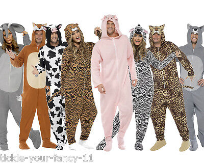 Jungle Themed Costumes (Men's Animal jumpsuit Fancy Dress Costume Farm Jungle Zoo Nature Stag Theme)