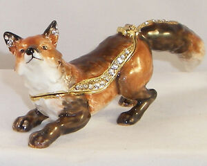 KINGSPOINT HUNTER THE FOX PEWTER BEJEWELED HINGED TRINKET ...