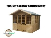 10FT x 8FT SUMMER HOUSE WITH 1FT OVERHANG/GARDEN SHED! TOP QUALITY TIMBER