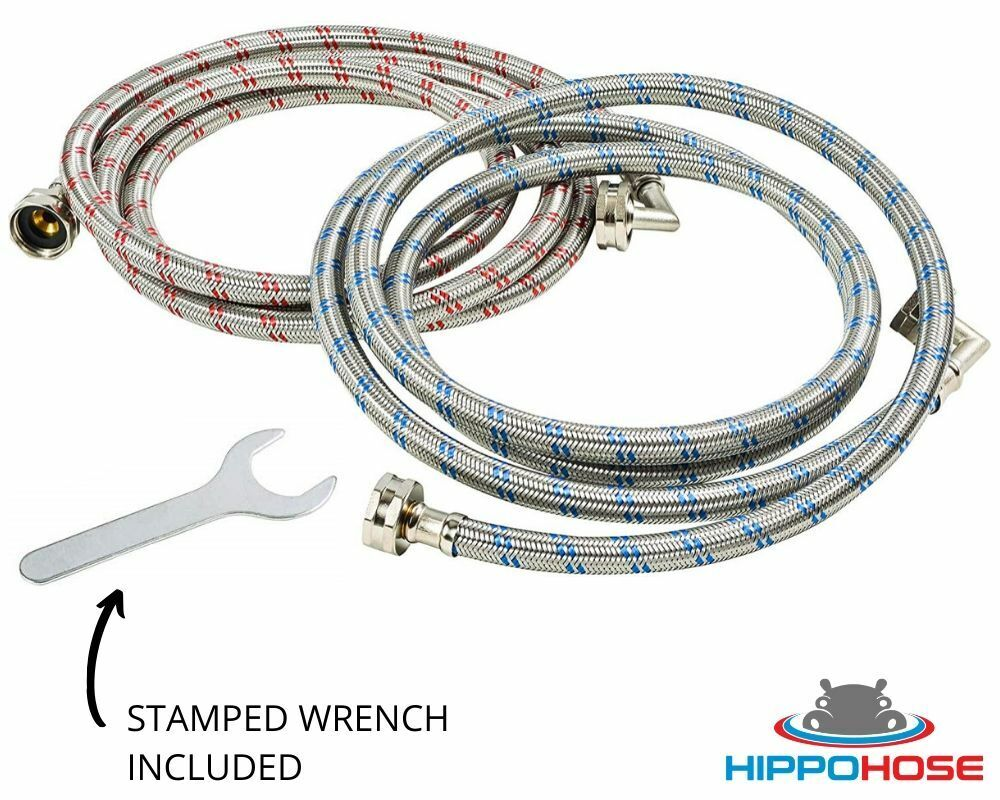 Washing Machine Hose Stainless Steel Braided 90 Degree Elbow Hippohose w/ Wrench