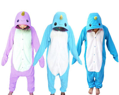 Unisex Adult Pajamas Narwhal Kigurumi Cosplay Costume Animal Sleepwear Suit - Narwhal Costume