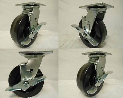 6 X 2 Swivel Casters Phenolic Wheel W Brake 4 1200lb Each Tool Box