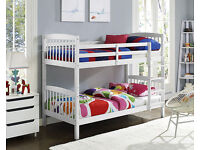White Chunky Pine Wood Bunk Bed with Mattress Option Available--Can be Used as 2 Single Beds