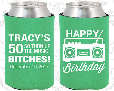 Personalized 50th Birthday Party Ideas Coozies (20118) 80's Birthday, Vintage - 80 Birthday Party Ideas