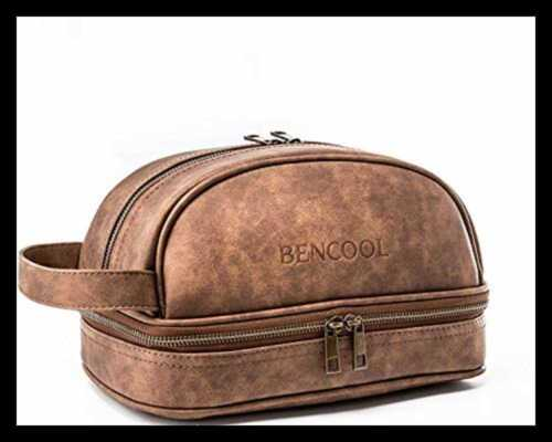 Bencool Leather Toiletry Bag For Men Dopp Kit W Free Travel