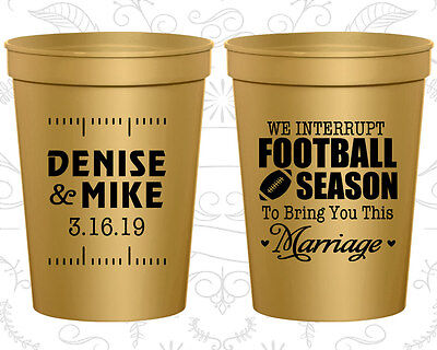 Personalized Wedding Favor Cups Custom Cup Gifts (314) Football Wedding - Personalized Plastic Footballs