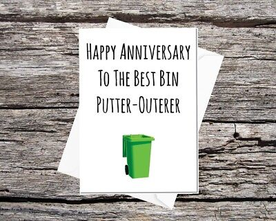 funny anniversary card for husband or boyfriend, to the best bin putter