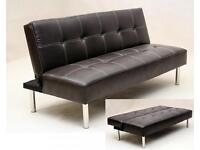 BRAND NEW- Premium Leather Sofa Bed with Chrome Feet Sofabed SAME/NEXT DAY DELIVERY