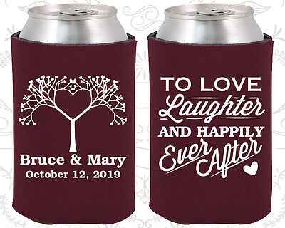 Personalized Wedding Coozies Custom Coozie (551) Love Laughter Happily (Personalized Coozies)