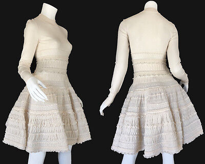 Alaia Iconic Ivory Passiflore Fit   Flare Pleated Lace Cocktail Dress Small 40