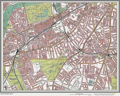 Battersea, Clapham Map London 1908 #22