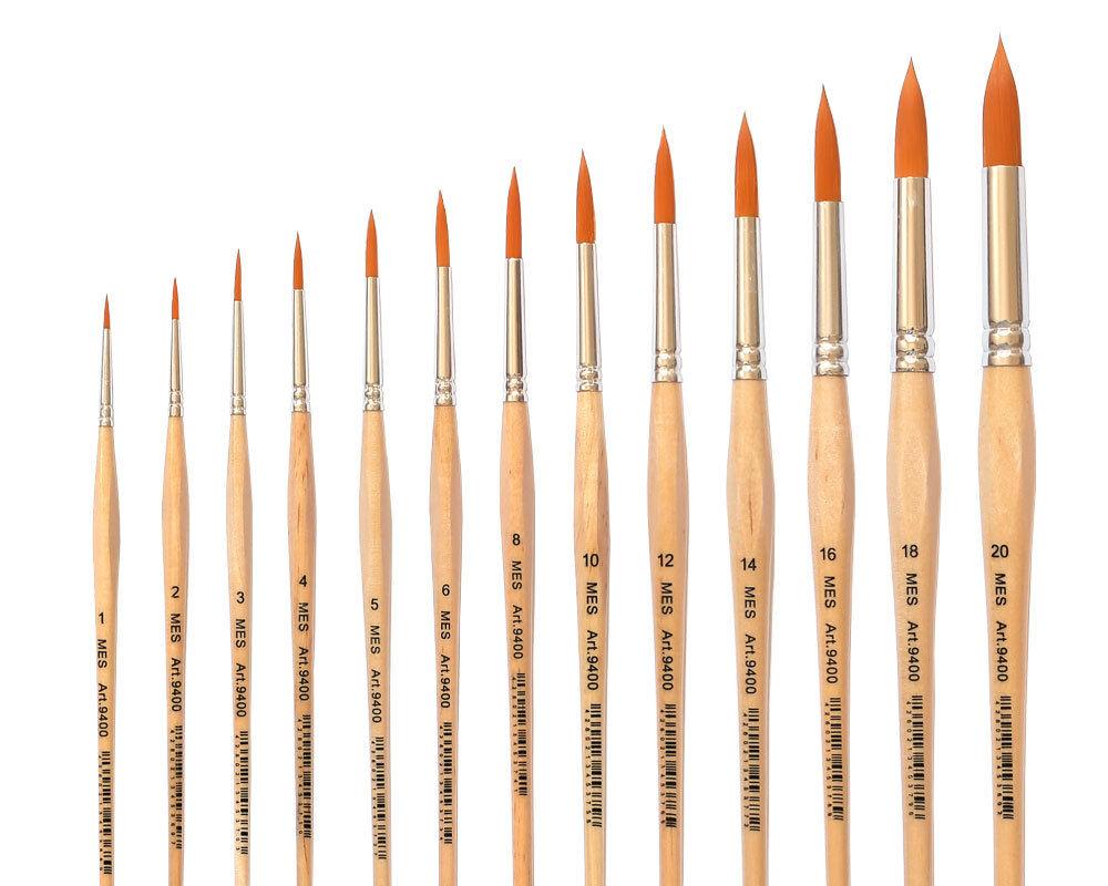 Künstlerpinsel Gr. 1 bis 20 Kunsthaar für Aquarellfarbe, Acrylfarben, Tempera