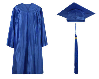Royal Blue Shiny Graduation Cap Gown and Tassel - 13 sizes available - Royal Blue Cap And Gown