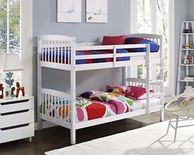 NEW **CLASSIC SALE** WHITE WOODEN BUNK BED FRAME AND MATTRESS SINGLE BOTTOM SINGLE TOP WOODEN BED