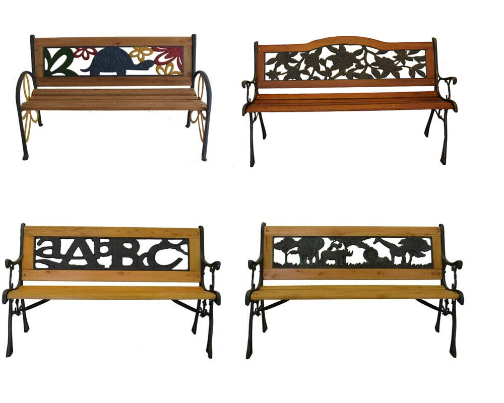 Garden Furniture - Outdoor Cast Iron Park Porch Chair Patio Garden Bench Hardwood Furniture