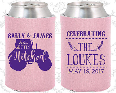 Personalized Wedding Coozies Custom Coozie (381) Tractor, Farm Wedding Favors (Personalized Coozies)