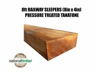 (Pack of 10) Sleepers 8ft Pressure Treated (200mm x 2400mm x 100mm)